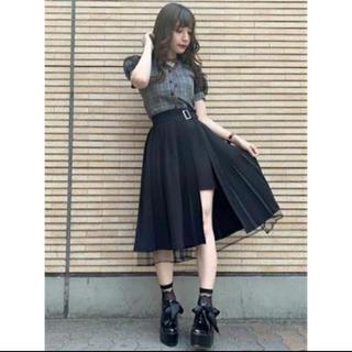 イートミー(EATME)のEATME 変形プリーツラップスカート 黒(ロングスカート)
