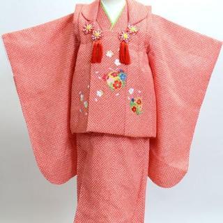 七五三 三歳 女児 被布 着物フルセット 総柄鹿子 刺繍模様 NO13586