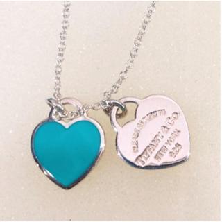 Tiffany & Co. - ティファニー ブルー ダブル ハート ネックレス silver