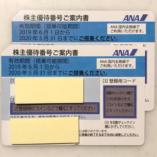 エーエヌエー(ゼンニッポンクウユ)(ANA(全日本空輸))のANA 株主優待券 2枚 2020/11/30まで(航空券)