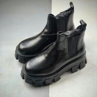 プラダ(PRADA)の24.0cmプラダ サイドゴアブーツ ブラッPRADA(ブーツ)