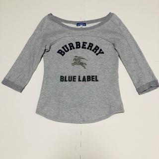 バーバリーブルーレーベル(BURBERRY BLUE LABEL)の【ビンテージ】バーバリーブルーレーベル ロゴプリント7分袖スウェット サイズ38(トレーナー/スウェット)