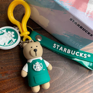 スターバックスコーヒー(Starbucks Coffee)のスターバックス べアリスタ キーホルダー ストラップ グリーン(キーホルダー)