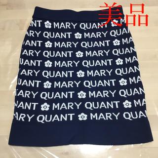 マリークワント(MARY QUANT)のマリークワント ネイビーロゴ ニットスカート 美品(ひざ丈スカート)