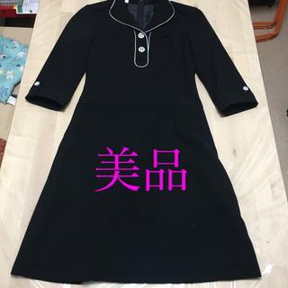 マリークワント(MARY QUANT)のマリークワント シンプル黒ワンピース 美品(ひざ丈ワンピース)