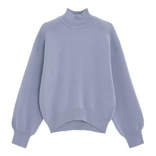 ジーユー(GU)の着用1回◆スウェットライクハイネックセーター Sサイズ ブルー(ニット/セーター)