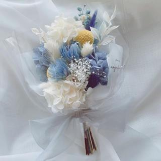 ブルー系 ドライフラワー 花束 ブーケ スワッグ ギフト(ドライフラワー)