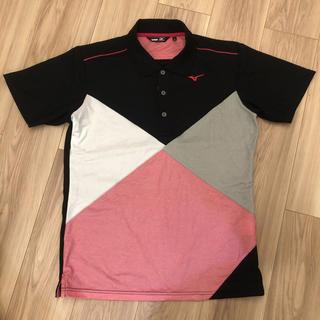 ミズノ(MIZUNO)のミズノ ゴルフ 台衿半袖ポロシャツ メンズ M ブラック ピンク グレー(ウエア)