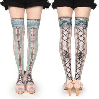 ALICE and the PIRATES - corset over knee socks chantegram stripe