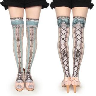 ALICE and the PIRATES - corset over knee socks chantegram stripe