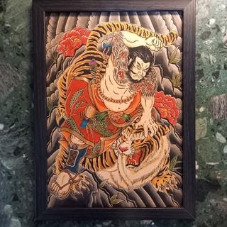 トウヨウエンタープライズ(東洋エンタープライズ)の「水滸伝・武松虎退治」A4サイズ 刺青 タトゥーフラッシュ(ミラー)