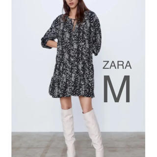 ザラ(ZARA)の【新品・未使用】ZARA フラワー プリント ミニ ワンピース M(ひざ丈ワンピース)