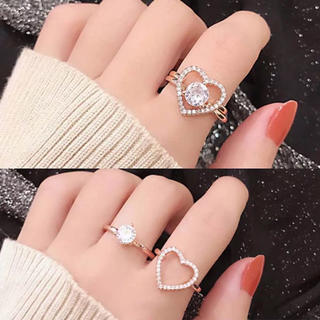 ラスト①♡シルバービジューリング&ハートリングの2本セット(リング(指輪))