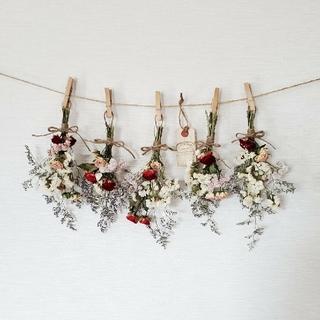 真っ赤&ピンクなミニバラと小花の可憐ドライフラワーガーランド*アンティークタグ(ドライフラワー)