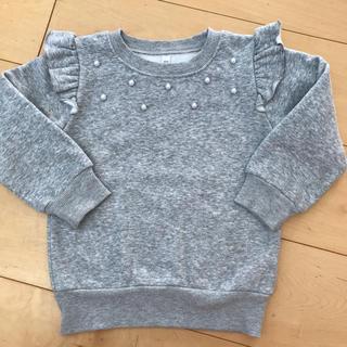 肩フリル 裏起毛 トレーナー 100センチ(Tシャツ/カットソー)