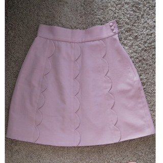 ワンアフターアナザーナイスクラップ(one after another NICE CLAUP)のピンク スカラップミニスカート(ミニスカート)