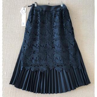 アドーア(ADORE)の新品未使用ADOREアドーアプリーツフラワーレーススカート黒(ひざ丈スカート)