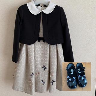 プティマイン(petit main)のプティマイン ♡ ジャガードリボンワンピース 120cm&フォーマルシューズ(ドレス/フォーマル)