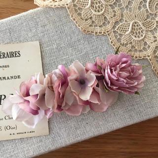 ローズピンクバラとラベンダー、パープル紫陽花のバレッタ(ヘアアクセサリー)