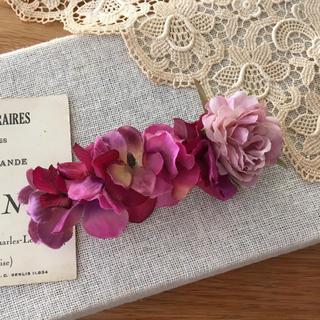 ローズピンクバラとワインピンク紫陽花のバレッタ(ヘアアクセサリー)