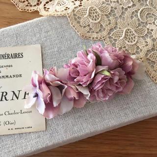 ローズピンクバラとパープル、ラベンダー紫陽花のバレッタ(ヘアアクセサリー)