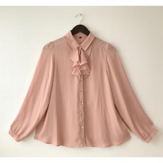 イオン(AEON)のピンクの胸元フリルブラウス長袖♡(シャツ/ブラウス(長袖/七分))