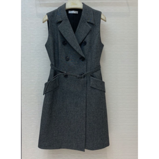 ディオール(Dior)のDIOR ドレス ワンピース ウール シルク 袖なし ミニ丈 ベルト付(ミニワンピース)