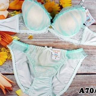020★A70 M★美胸ブラ ショーツ Wパッド オーガンジー ミント(ブラ&ショーツセット)