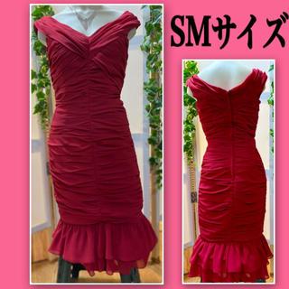 ジュエルズ(JEWELS)のHオフショルダーのナイトドレス膝丈レッドSM♪真紅赤インポート高級キャバドレス(ナイトドレス)