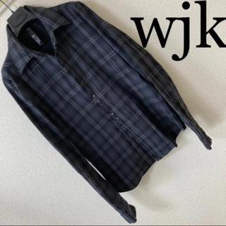 ダブルジェーケー(wjk)の良品◆wjk ダブルジェイケイ◆フックシャツ チェック ネルシャツ フリンジ S(シャツ)