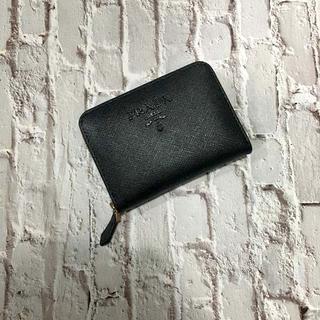 PRADA - プラダ センタージッパー 名刺カード小銭入れ 黒ロゴ ネロブラック