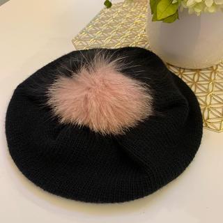 ミュウミュウ(miumiu)のmiu miu  ミュウミュウ ベレー帽 ブラック BLUEFOX(ハンチング/ベレー帽)