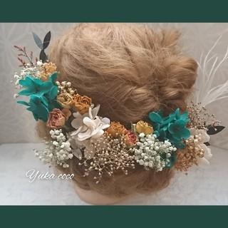 アンティークローズ ドライフラワー ヘッドドレス 髪飾り❁︎成人式 結婚式 振袖(ヘッドドレス/ドレス)