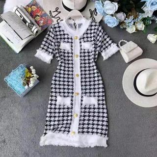 dazzy store - 【新品】千鳥格子柄 ハウンドトゥースチェック ミニワンピース ニット ドレス