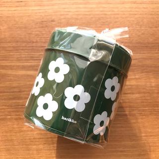 マリメッコ(marimekko)のharikko ハリッコ ★ アネモネのお花缶  ダークグリーン(小物入れ)