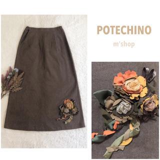 ピンクハウス(PINK HOUSE)のポテチーノ ✽ フラワーモチーフスカート ✽ さえら(ひざ丈スカート)