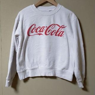 コカコーラ(コカ・コーラ)のコカコーラ Coca-Cola ロゴプリントトレーナー 白スウェット トレーナー(スウェット)