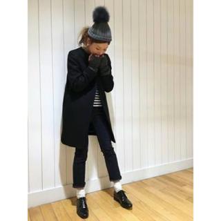 ドゥーズィエムクラス(DEUXIEME CLASSE)の【美品】ドゥーズィエムクラス ファー付きニット帽(ニット帽/ビーニー)