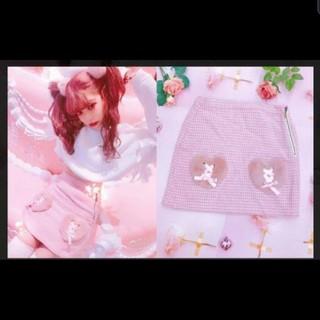 スワンキス(Swankiss)のSwankiss♡新品未使用☆ファーハートポケット(ひざ丈スカート)