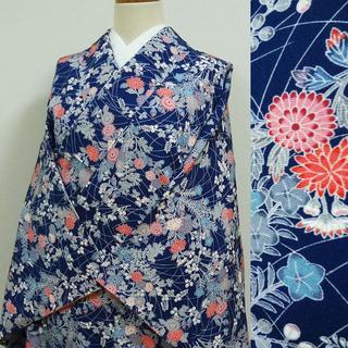濃いブルーに菊や萩 小紋(着物)