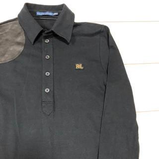 POLO RALPH LAUREN - RALPHLAUREN ショルダーレザー パッチ 長袖 ポロシャツ ブラック M
