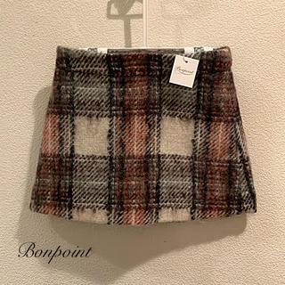 ボンポワン(Bonpoint)のBonpoint  4A (104)  オシャレなモヘアのチェックスカート(スカート)