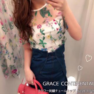 GRACE CONTINENTAL - グレースコンチネンタル フラワー刺繍トップス