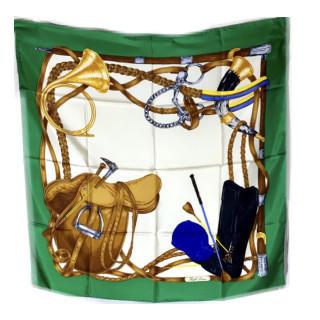 ラルフローレン(Ralph Lauren)の新品 定価5万円以上 シルク スカーフ グリーン(バンダナ/スカーフ)