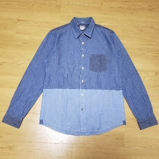 デラックス(DELUXE)のデラックス シャンブレーシャツ 長袖 切り替え インディゴ Mサイズ(シャツ)