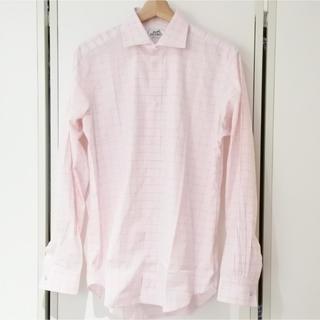 エルメス(Hermes)のエルメス 長袖シャツ ウインドウペンチェック スクエア セリエボタン ピンク(シャツ)