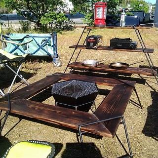 焚き火テーブル、囲炉裏テーブル、アイアンラック、ロータイプ❗