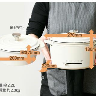 ヤマゼン(山善)のグリル鍋 電気グリル鍋 IH ガス 直火対応 EGD-D650(MW)(炊飯器)