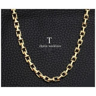 Tiffany & Co. - 18金仕上げ Tチェーンネックレス ゴールド 金 チェーン メンズ ネックレス