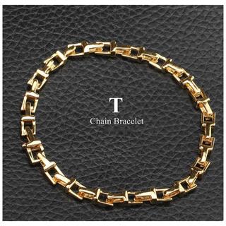 Tiffany & Co. - 18金仕上げ Tチェーンブレスレット ゴールド 金 メンズ ブレスレット